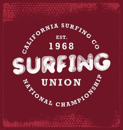 screen print: Surf - design tipografico - Look classico ideale per la camicia di stampa schermo disegno Vettoriali