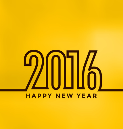 yellow line: 2016 - Creative Line Design on Yellow Background - Happy New Year Illustration