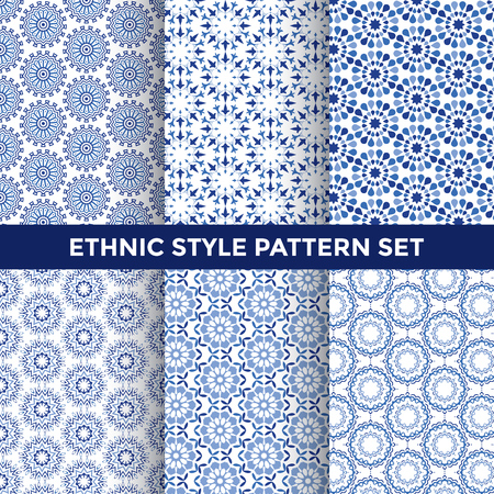 contemporary style: Ethnic Style Pattern Set - Collection of Six Blue Pattern Designs on White Background