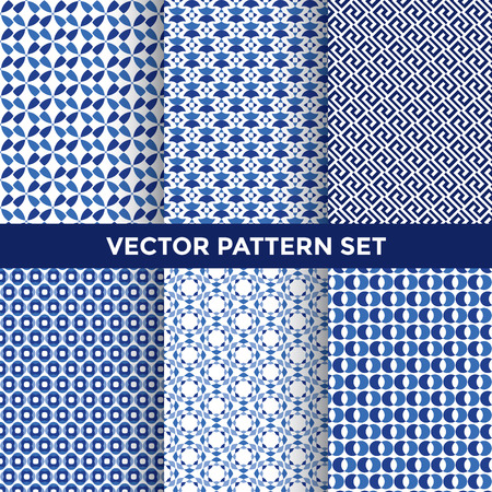 fabric pattern: Universal Vector Pattern Set - Collection of Six Blue Pattern Designs on White Background