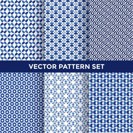 Universal Vector Pattern Set - collectie van zes Blauw Patroon Ontwerpen op Witte Achtergrond