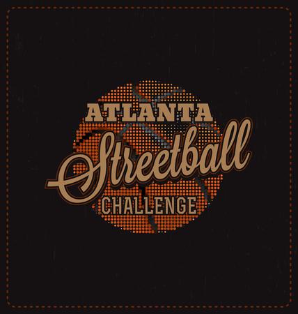 screen print: Streetball Challenge - design tipografico - Look classico ideale per la camicia di stampa schermo disegno Vettoriali