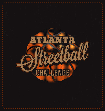screen print: Streetball Challenge - Typographic Design - Classic look ideal for screen print shirt design Illustration