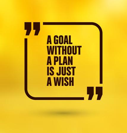metas: Cita Enmarcado en fondo amarillo - Una meta sin un plan es sólo un deseo