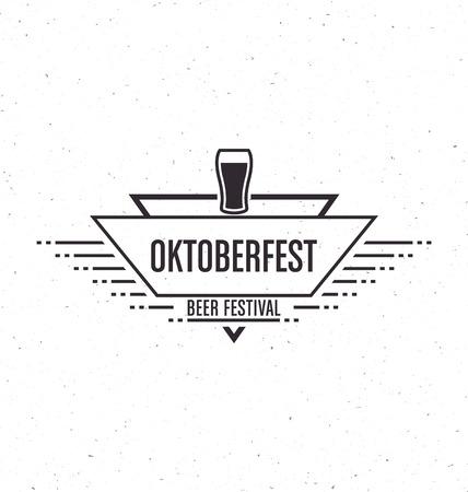 Oktoberfest beer festival celebration retro typographic design template - Textured vintage style background Illustration