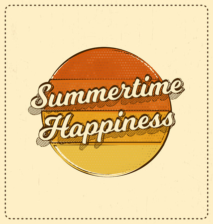 screen print: Summertime Happiness - Typographic Design - Classic look ideal for screen print shirt design