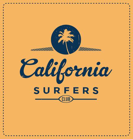 screen print: California Surfers Club - Typographic Design - Classic look ideal for screen print shirt design
