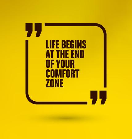 tr�sten: Gerahmte Quote auf gelbem Hintergrund - Das Leben f�ngt am Ende Ihrer Komfortzone