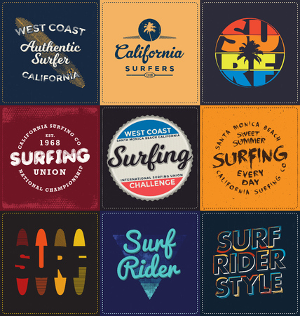 Surfen Themed Collection - Typographic Design Set - Classic uitstraling ideaal voor zeefdruk shirt design Stock Illustratie