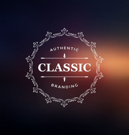 label design: Calligraphic Label Design Template - Classic Ornamental Style. Elegant frame and typography on colorful background - Ideal logo for any business with classic corporate identity visual