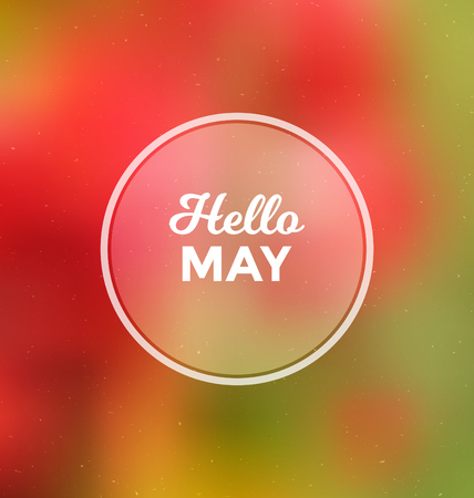 may: Hello May - Typographic Greeting Card Design Concept - Colorful Blurred Background with white text