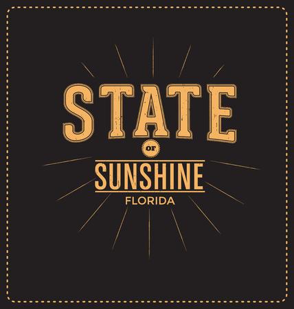 screen print: State of Sunshine - Florida - design tipografico - Look classico ideale per la camicia di stampa schermo disegno