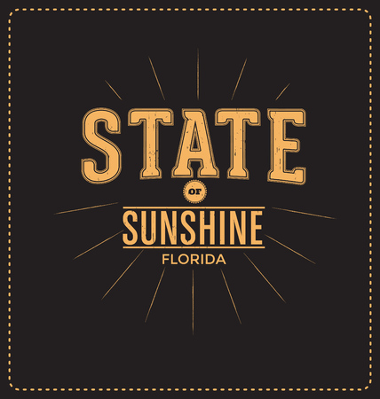surf team: State of Sunshine - Florida - Typographic Design - Classic look ideal for screen print shirt design