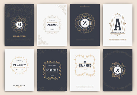 brand: Calligraphic Flyer Design Template Set - Classic Ornamental Style. Elegant luxury frame with typography - Ideal logo for restaurant, hotel, cafe or other businesses with classic corporate identity