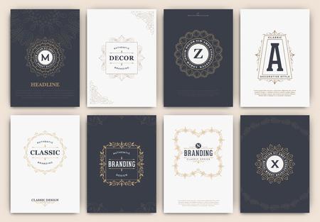 logo: Thư pháp Flyer Design Template Set - Classic cảnh Style. Khung sang trọng thanh lịch với kiểu chữ - logo lý tưởng cho các nhà hàng, khách sạn, quán cà phê hoặc các doanh nghiệp khác với bản sắc cổ điển của công ty