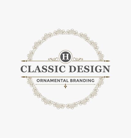 カリグラフィ ラベル デザイン テンプレート - 古典的な装飾スタイルです。タイポグラフィ - レストラン、ホテル、カフェの理想的なロゴと古典的
