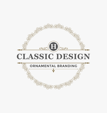 feminine: Calligraphic Label Design Template - Classic Ornamental Style. Elegant luxury frame with typography - Ideal logo for restaurant, hotel, cafe and other businesses with classic corporate identity visual Illustration