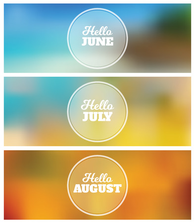 Hello June   July   August   Summer Timeline Cover Graphic Design  Background Set Vector