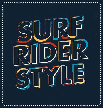 siervo: Surf Rider estilo - dise�o tipogr�fico - look ideal para el cl�sico dise�o de la camisa de impresi�n de pantalla