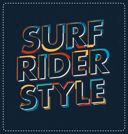 screen print: Surf Rider Style - Typographic Design - Classic look ideal for screen print shirt design