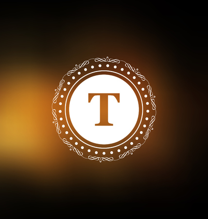 classic style: Calligraphic Label Design Template - Classic Ornamental Style. Elegant frame and typography on dark orange background