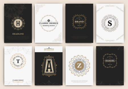 antique: Calligraphic Flyer Design Template Set - Classic Ornamental Style. Elegant luxury frame with typography