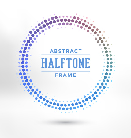 vector background: Abstract Halftone Circle Frame - Colorful Design