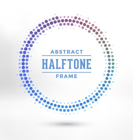 Abstracte Halftone Circle Frame - Kleurrijk Ontwerp Stock Illustratie