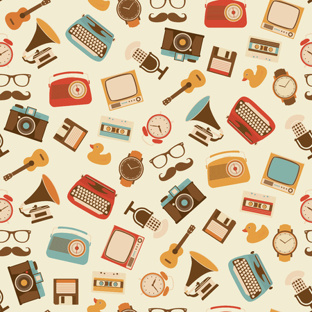 원활한 레트로 패턴 - 알람 시계, 타자기, 기타, 텔레비전, 카메라, 플로피 디스크, 카세트, 라디오, 축음기, 마이크, 레트로 장치의 한 감시 바탕 화면