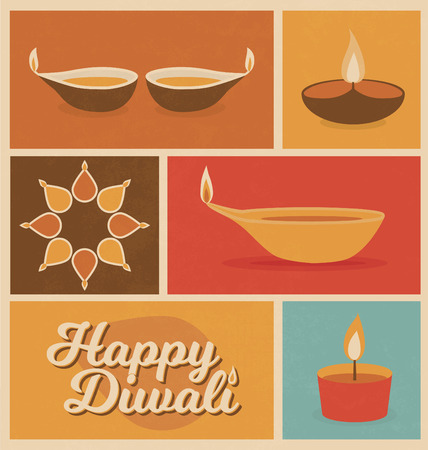 Diwali - Festival of Light - Minimal Retro Design - flat icons - vintage style