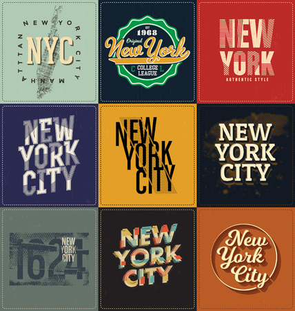 tshirts: New York Themed Collection - Typographic Design Set - Classic look ideal for screen print shirt design
