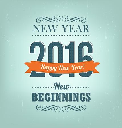 happy new year: 2016 - kalli Neujahr-Gruß Design - Retro-Stil Typografie mit dekorativen Elementen