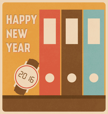 watch new year: Happy New Year 2016 - Greeting with Retro Watch Illustration