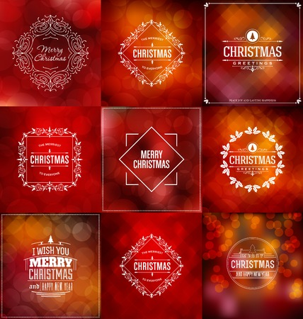 Christmas Card Design Set - Collection of Elegant Stylish Greetings with Typographic Elements Çizim