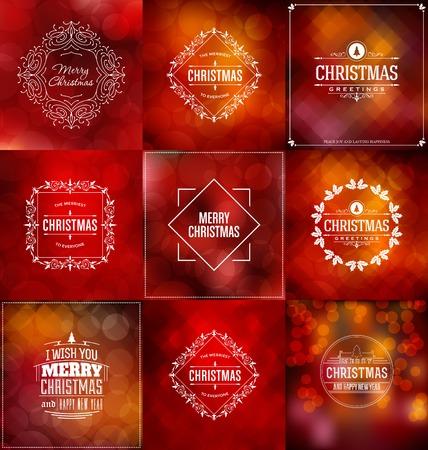 Kerstkaart Design Set - collectie van elegante stijlvolle Groeten met typografische Elements
