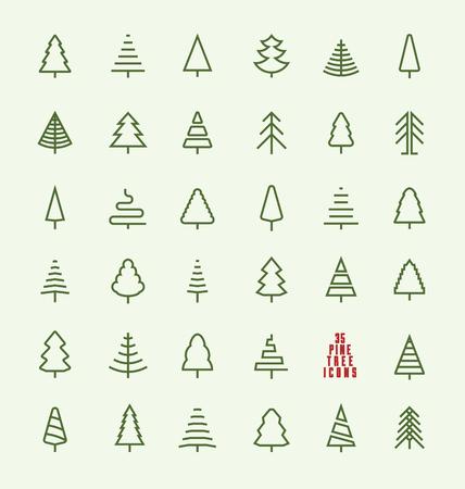 arbol de pino: Línea delgada Pino Icon Set - Una colección de diseños de iconos línea 35 del árbol de navidad en el fondo claro Vectores