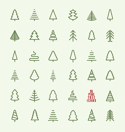 pines: Thin Line Pine Tree Icon Set - A collection of 35 christmas tree line icon designs on light background