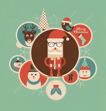 retro circles: Retro Christmas Design with Circles - Santa Claus and his friends illustrated
