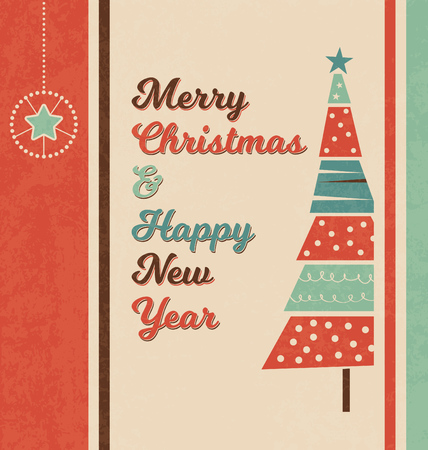 viewfinderchallenge1: Retro Christmas Greeting Card with Christmas Tree