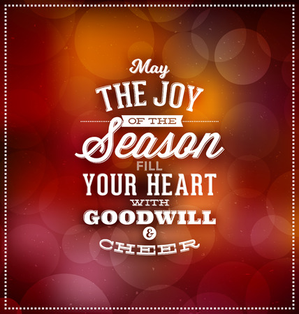 goodwill: Christmas Card Design - Typographic Greeting - May the Joy of the Season Fill Your Heart with Goodwill and Cheer - Blurred Background with lights