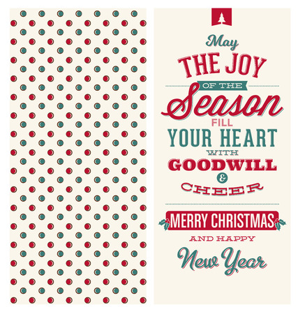 goodwill: Christmas Card Design - Typographic Greeting - May the Joy of the Season Fill Your Heart with Goodwill and Cheer - Merry Christmas and Happy New Year Illustration