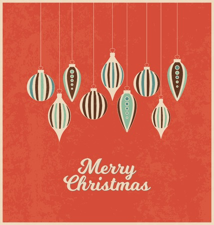 retro christmas: Retro Christmas greeting card with Christmas decorations on red background - Merry Christmas Illustration