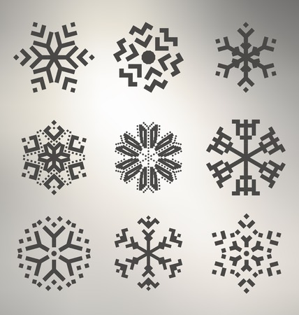 schneeflocke: Geometrische Snowflake Icon Set Illustration