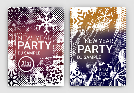 event party festive: Poster Set for New Years Eve Party Celebration - Grunge Stylized Snow with geometric snowflake design elements Illustration