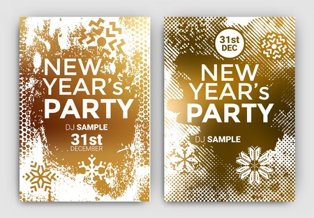 new years eve party: Poster Set for New Years Eve Party Celebration - Grunge Stylized Snow with geometric snowflake design elements Illustration