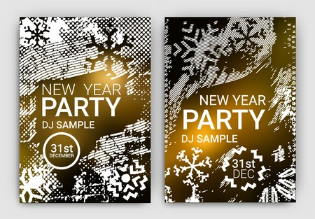 new years resolution: Poster Set for New Years Eve Party Celebration - Grunge Stylized Snow with geometric snowflake design elements Illustration