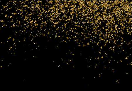 Golden confetti - Gold glitter texture on a black background - Golden grainy abstract texture - Small particles falling