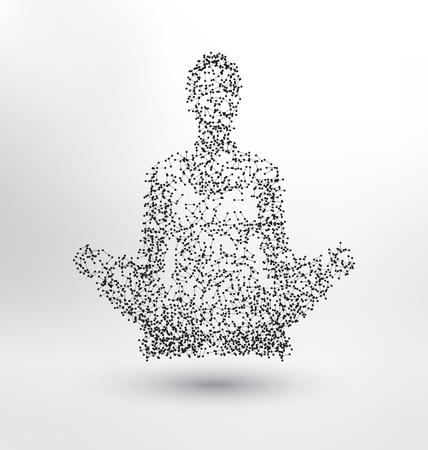 Abstract Molecule basé concept de figure humaine - Illustration d'un corps humain dans lotus pose - personne méditant