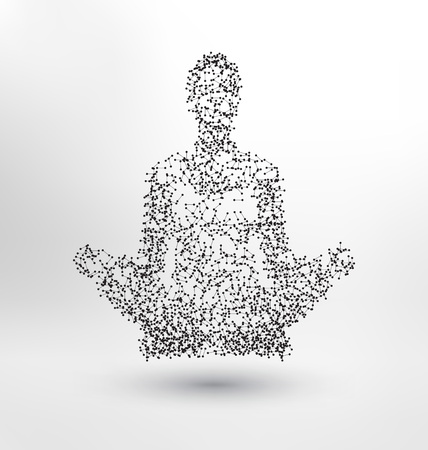 molecules: Abstract Molecule based human figure concept - Illustration of a human body in lotus pose - meditating person