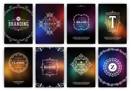 Calligraphic Flyer Design Template Set - Colorful Ornamental Style - Dark luxury frames with typography